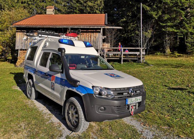 Mit diesem Bergrettungsfahrzeug werden Patienten ins Tal transportiert